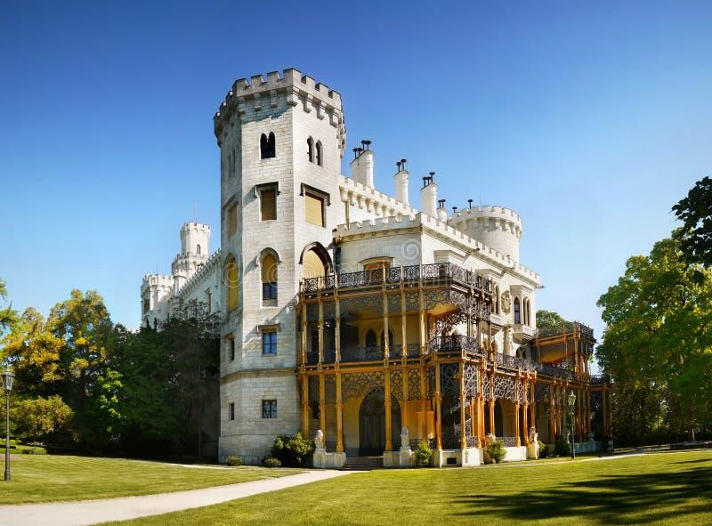 Romantisk slott, Hluboka, Tjeckien arkivbilder