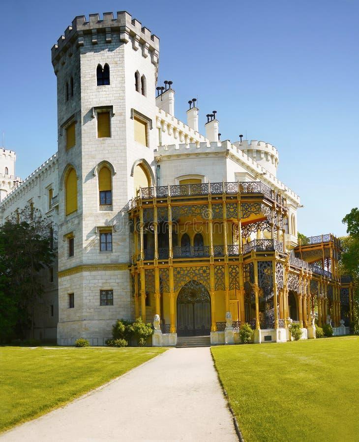 Romantisk slott, Hluboka, Tjeckien royaltyfria bilder