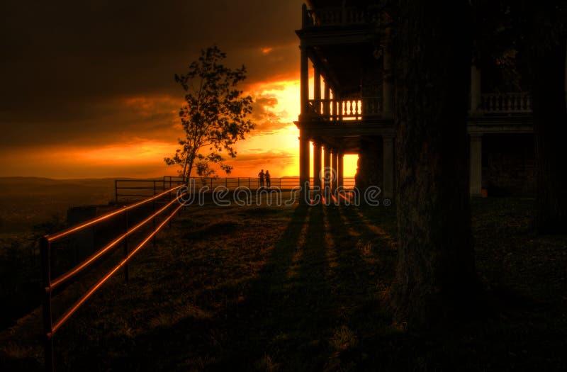 romantisk solnedgång royaltyfria bilder