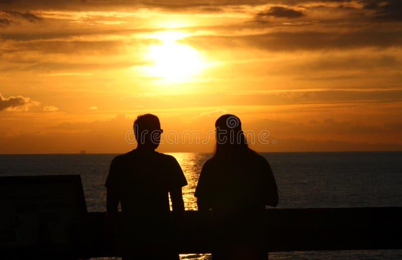 romantisk solnedgång arkivbild