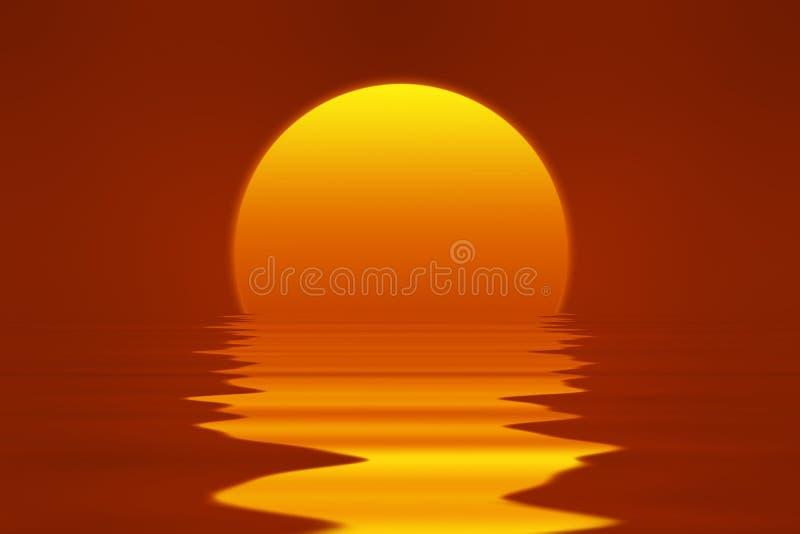 Romantisk solnedgång med röd klar himmel, det ljusa gulingljudet och havet stock illustrationer