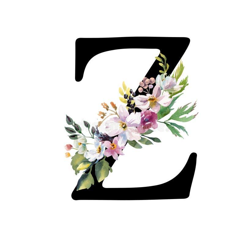 Romantisk svart bokstav A med utdragna vattenf?rgblommor Elegant emblem f?r bokdesignen, m?rkesnamn, br?llopinbjudan royaltyfri fotografi