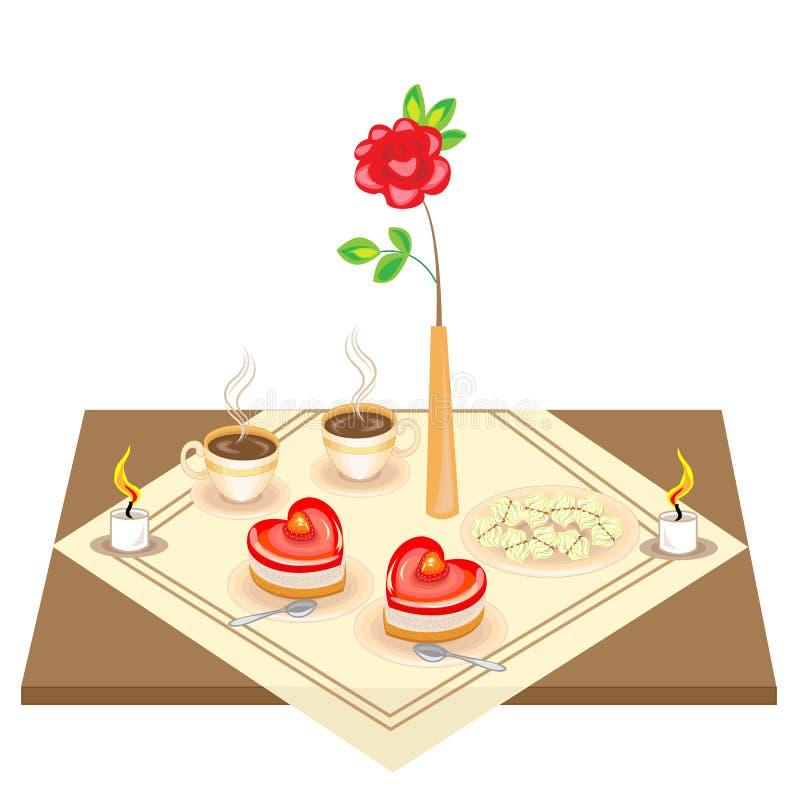 Romantisk tabell f?r v?nner En l?cker hj?rta-formad kaka och tv? koppar kaffe, ettformat skum, stearinljus Dag f?r valentin s royaltyfri illustrationer