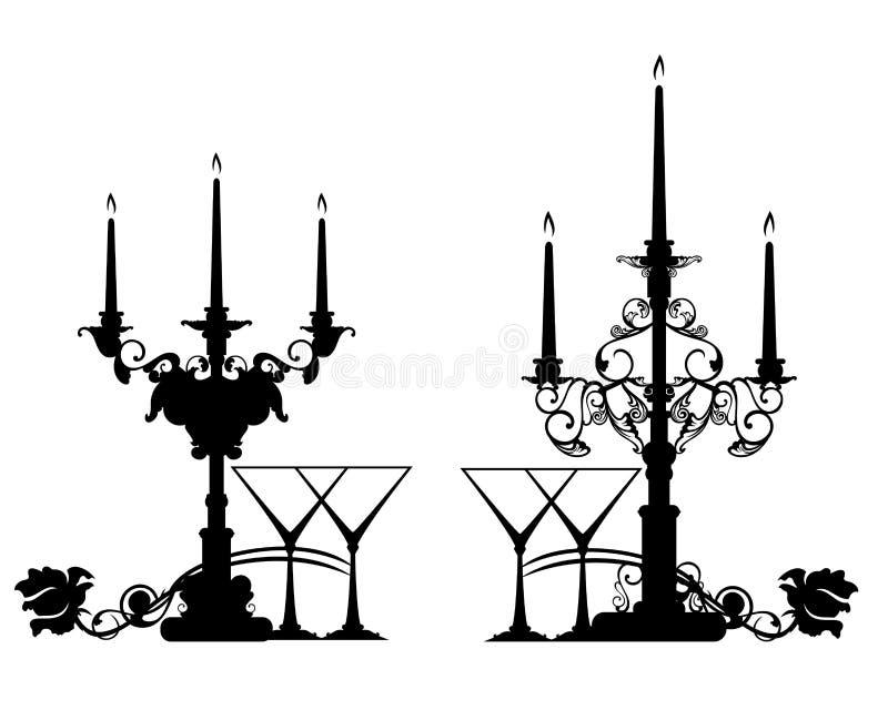 Romantisk tabellinställning med två exponeringsglas och stearinljus vektorkontur vektor illustrationer