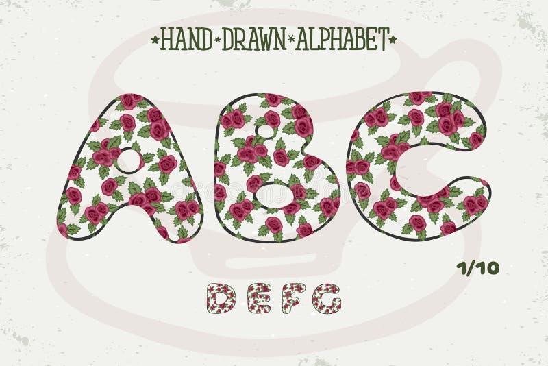 Romantisk tappningdesign för alfabet Den används gemensamt i hela världen som ett universellt språk för att framföra betydelse so royaltyfri illustrationer