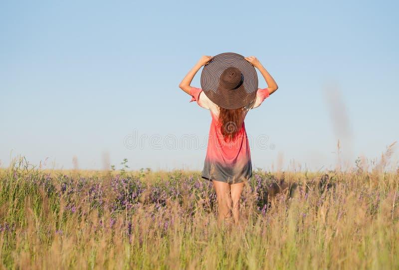 Romantisk ung kvinna i hattanseende på äng i varm sommardag royaltyfri fotografi