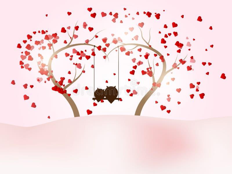 Romantisk valentindag med parugglan på gunga på trädet vektor illustrationer