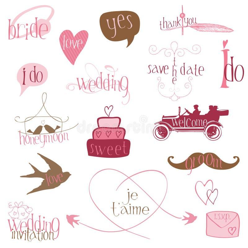 Romantiska bröllopdesignelement royaltyfri illustrationer