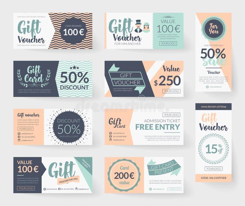 Romantiska mallar för presentkort för tappningstilvektor arkivfoto