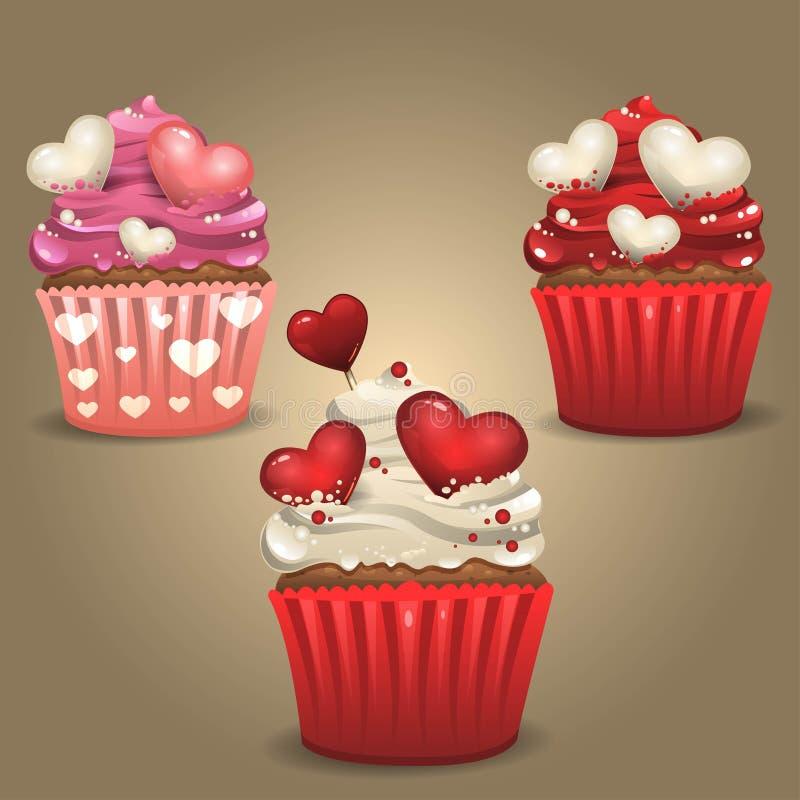 Romantiska muffin vektor illustrationer
