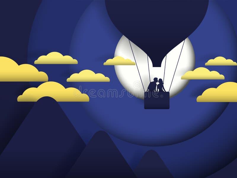 Romantiska nattpar för fullmåne som är förälskade på ballongen, papperssnitt, digitalt hantverk, vektorillustration arkivfoto