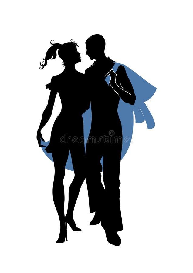 Romantiska par royaltyfri illustrationer