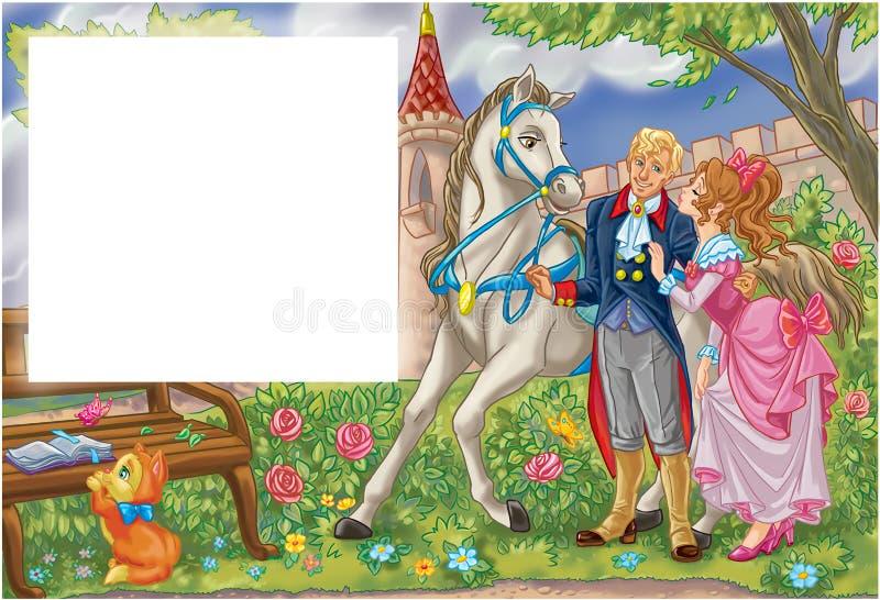 Romantiska par för saga i en trädgård vektor illustrationer