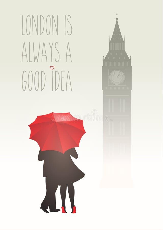 Romantiska par i London royaltyfri illustrationer