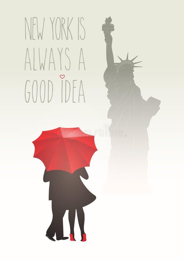 Romantiska par i New York vektor illustrationer
