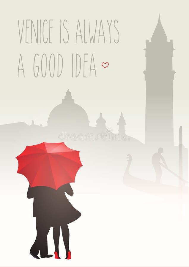 Romantiska par i Venedig royaltyfri illustrationer