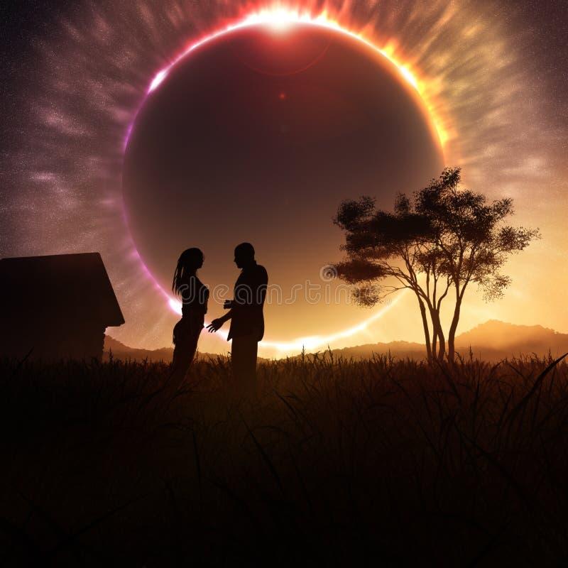 Romantiska par på sol- förmörkelse stock illustrationer