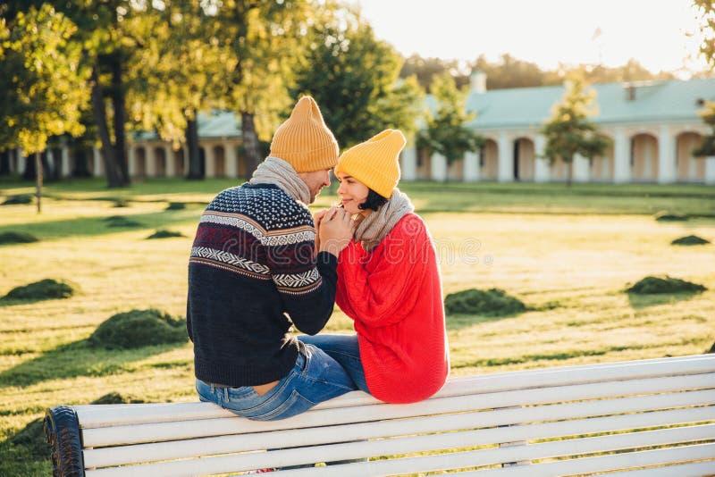 Romantiska par sitter på bänk, tycker om solig dag, håller händer tillsammans, ser med stor förälskelse på de, har bra förhålland arkivfoton