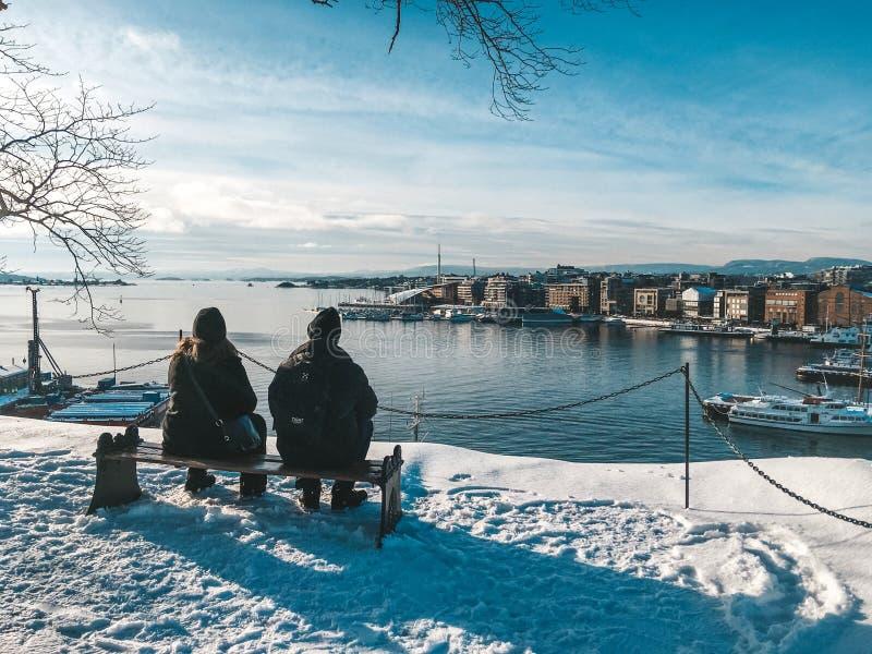 Romantiska par som beundrar sikten av Oslo royaltyfri bild
