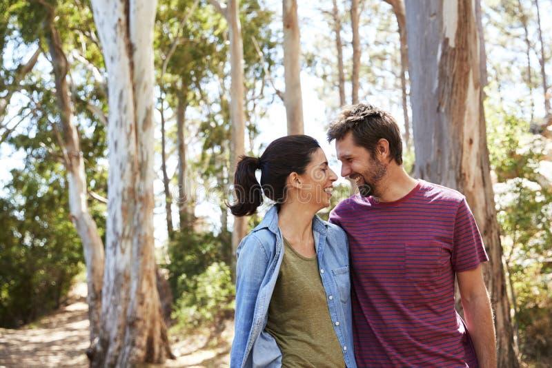 Romantiska par som fotvandrar längs Forest Path Together fotografering för bildbyråer