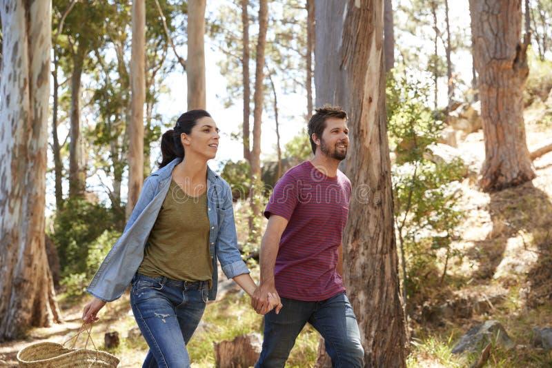 Romantiska par som fotvandrar längs Forest Path Together royaltyfri bild