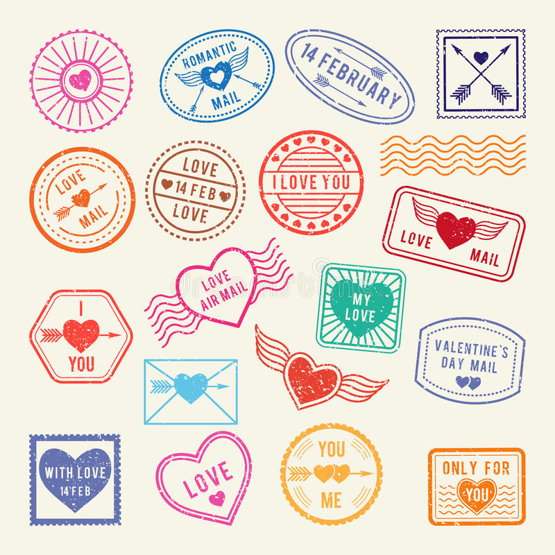 Romantiska post- stämplar för tappning Vektorförälskelsebeståndsdelar för urklippsbok- eller bokstavsdesign stock illustrationer