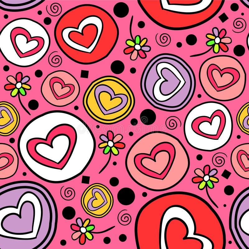 Romantiska seamless mönstrar med hjärtor royaltyfri illustrationer