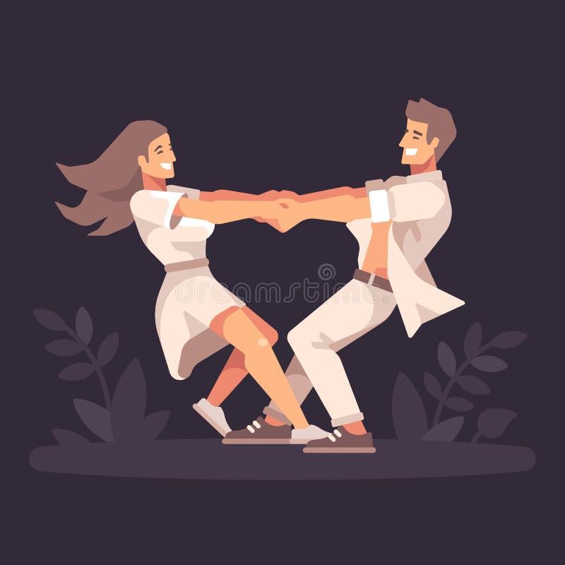 Romantiska unga par som spela golfboll i hål händer och omkring rotera och att bilda en hjärtaform vektor illustrationer