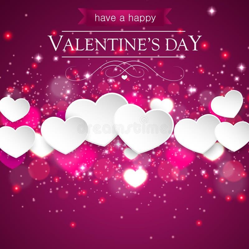 Romantiska valentinhjärtor i purpurfärgat sväva för bakgrund royaltyfri illustrationer
