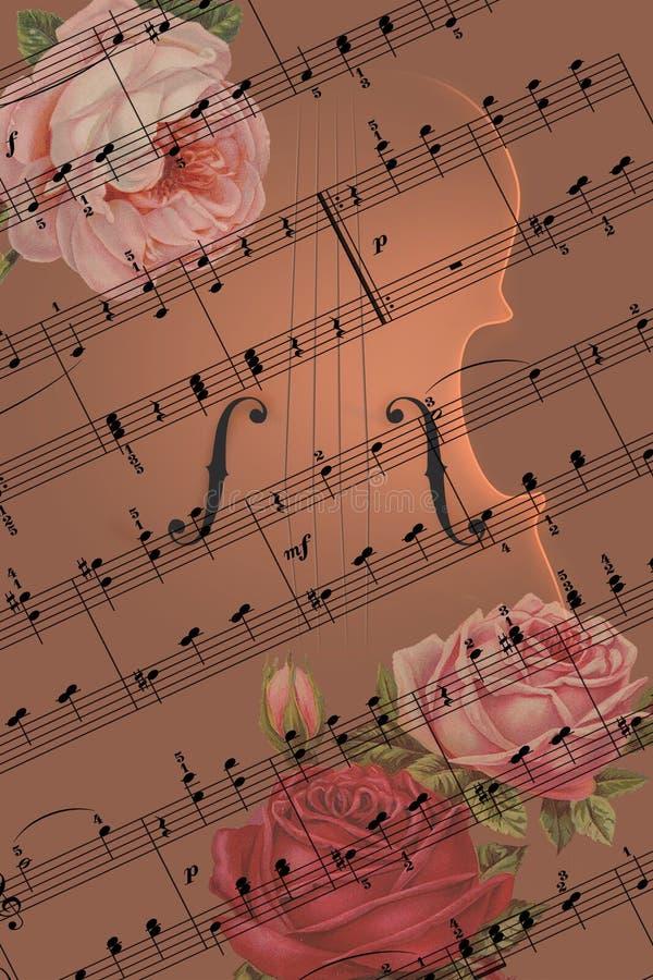 Romantiskt begrepp med musik, fiolen och rosor stock illustrationer