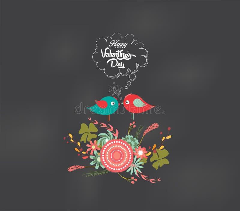 Romantiskt blom- för valentindag och fågelkort stock illustrationer