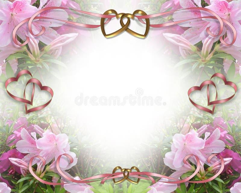 romantiskt bröllop för azaleasinbjudan stock illustrationer