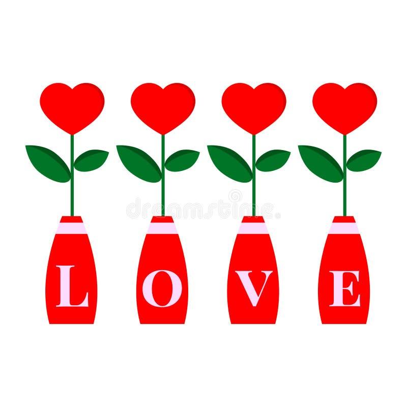Romantiskt enformad blomma med bladet in i den röda flaskan som isoleras på vit bakgrund stock illustrationer