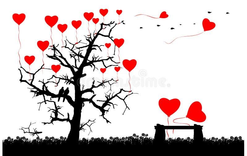 Romantiskt förälskelsebegreppskort stock illustrationer