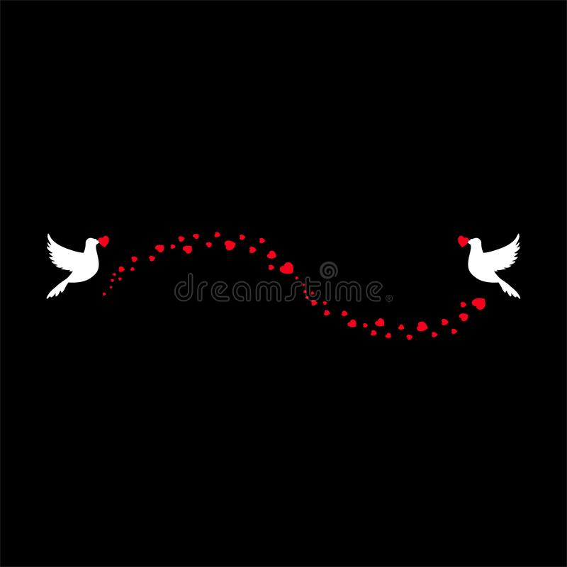 Romantiskt förälskelsebröllop, valentinbeståndsdel av hjärtakonfettiflöde och flygfåglar vektor illustrationer