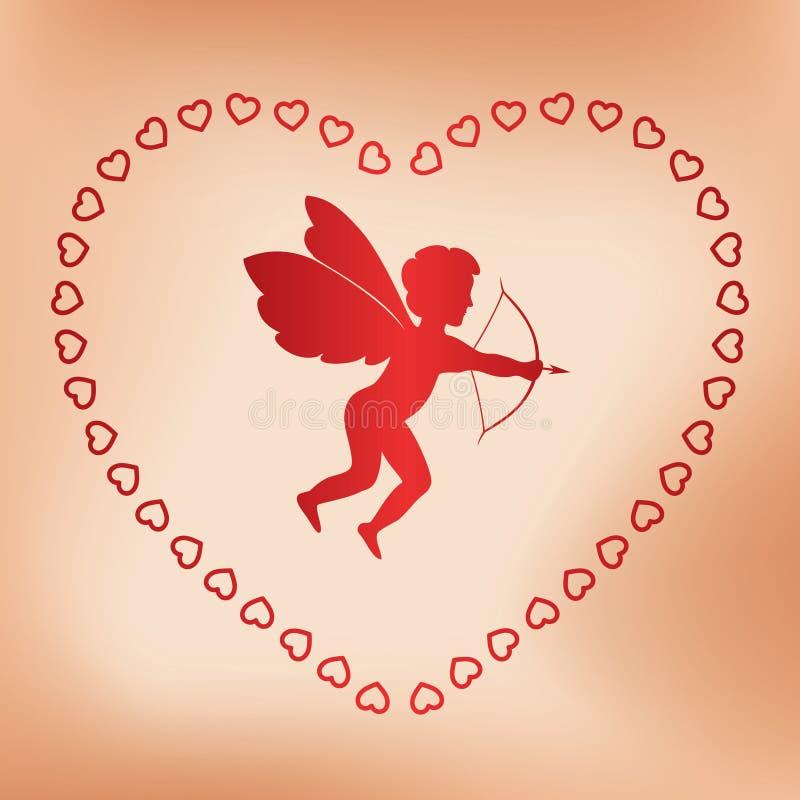 Download Romantiskt Kort Med ängeln För Valentindag Vektor Illustrationer - Illustration av grunge, garnering: 37345311