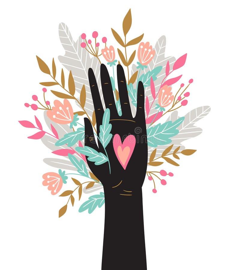 Romantiskt kort med buketten i handen Gullig design för bröllopinbjudanmall Vektorillustration för dag för valentin` s stock illustrationer