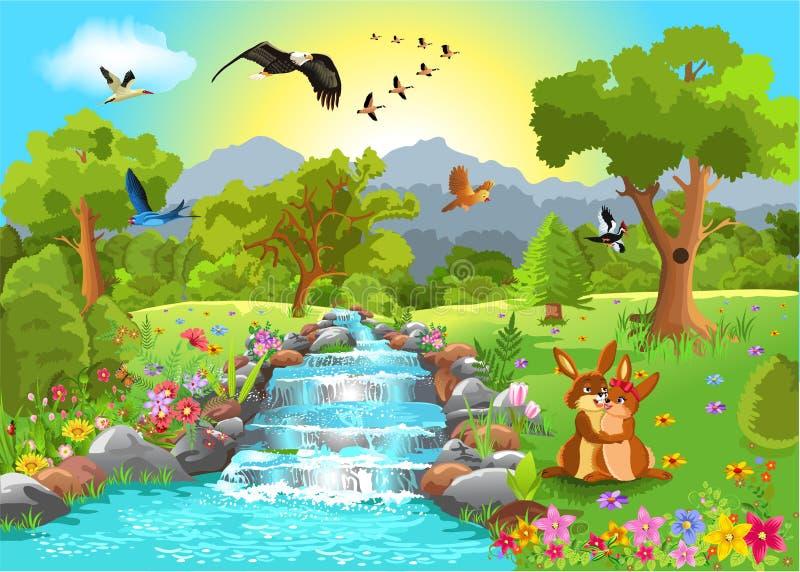 Romantiskt landskap stock illustrationer