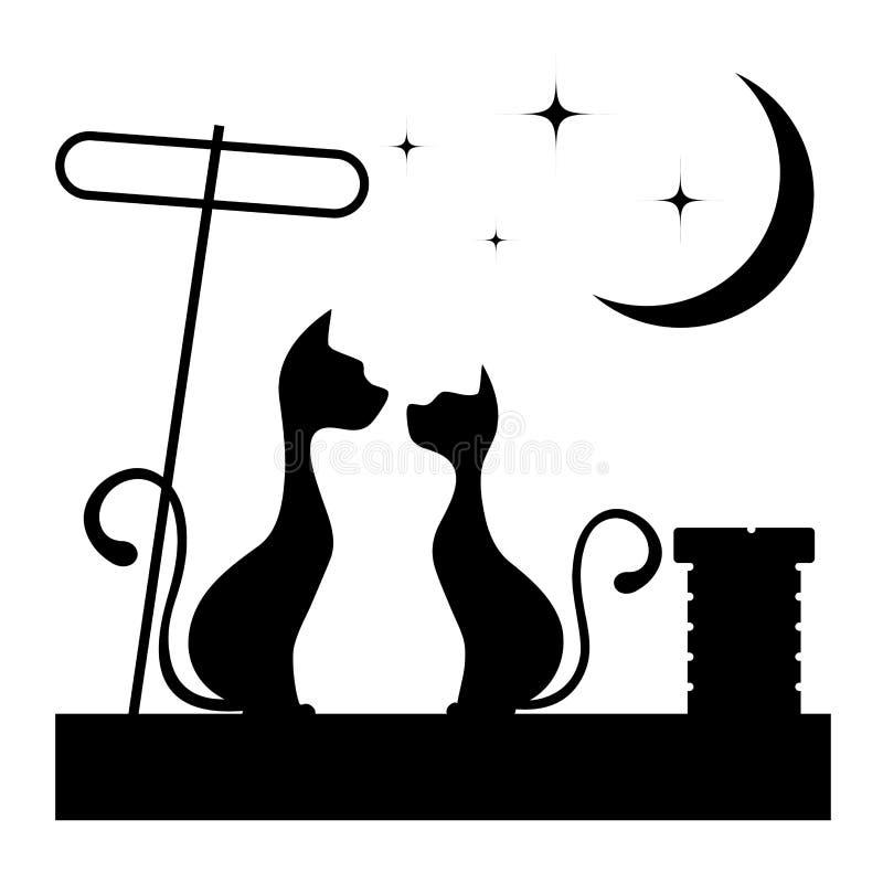 Romantiskt möte av kattmonokromillustrationen royaltyfri illustrationer