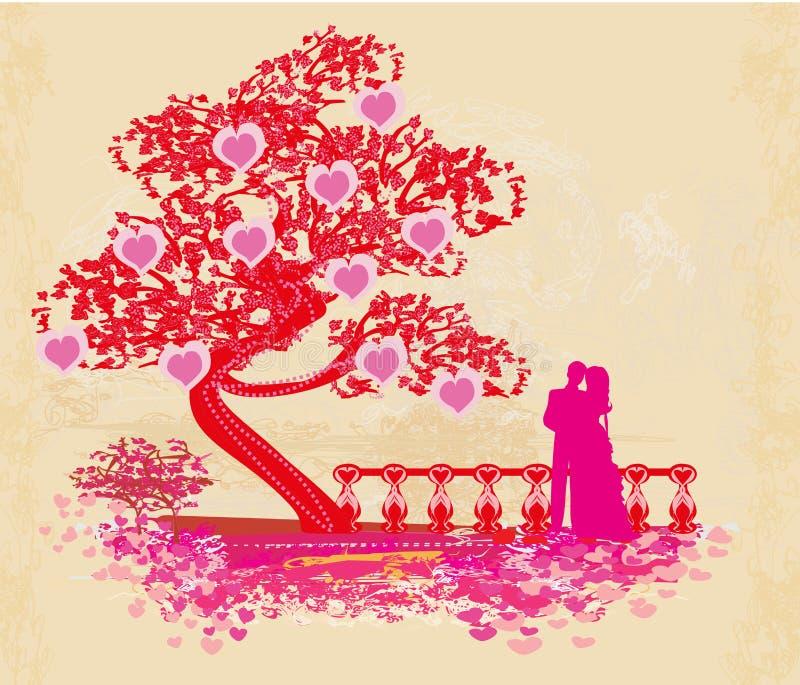 Romantiskt parkort stock illustrationer