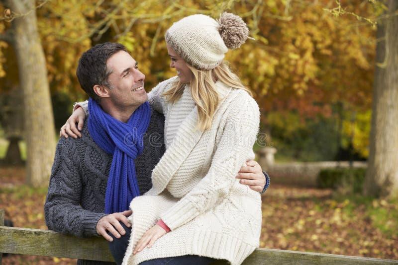Romantiskt parsammanträde på staketet In Autumn Woodland royaltyfri foto
