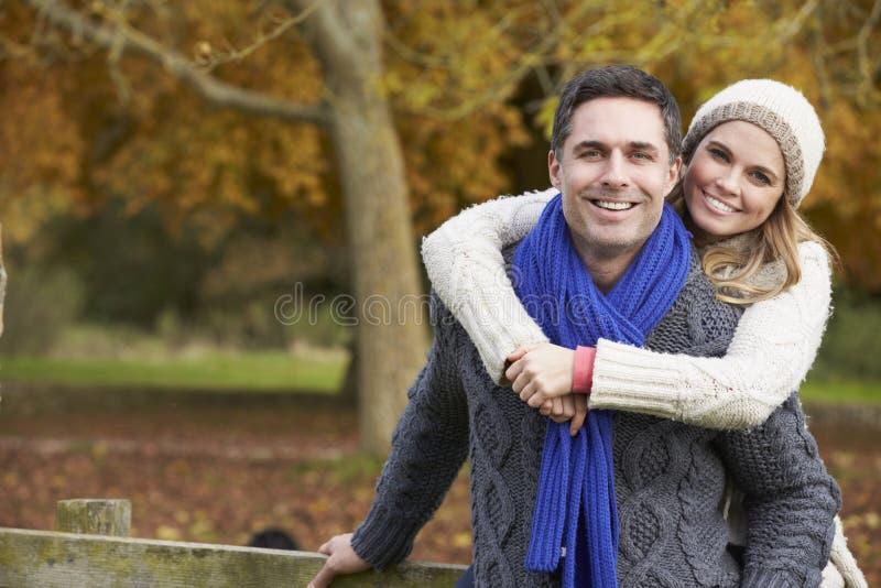 Romantiskt parsammanträde på staketet In Autumn Woodland royaltyfri fotografi