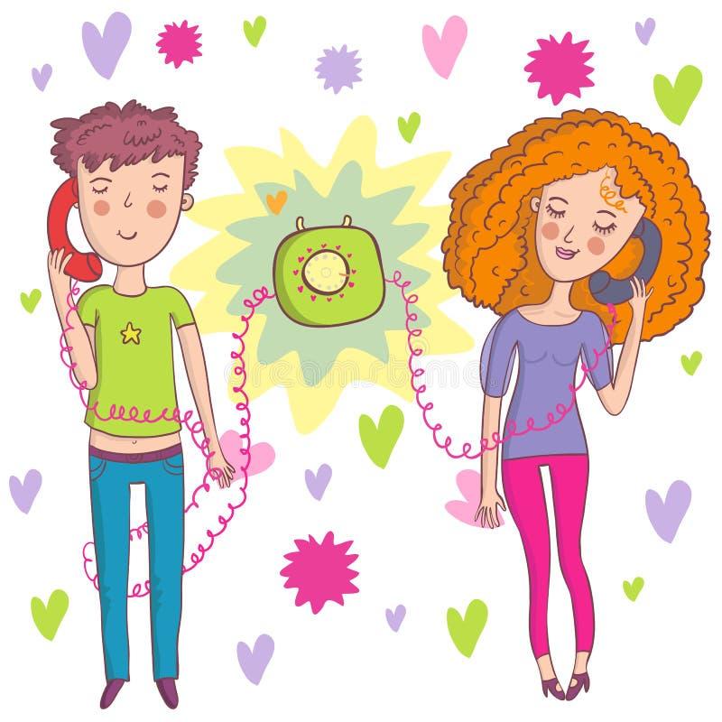 romantiskt samtal royaltyfri illustrationer
