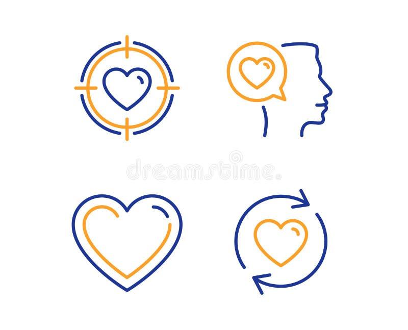 Romantiskt samtal, upps?ttning f?r hj?rta- och valentinm?lsymboler Uppdateringf?rh?llandetecken vektor royaltyfri illustrationer