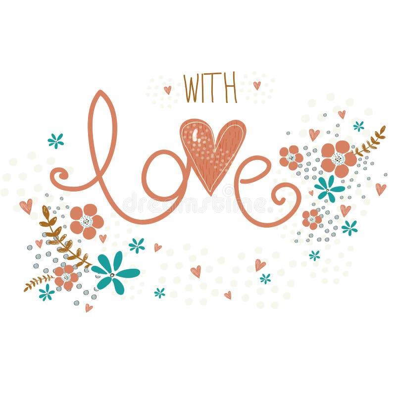 Romantiskt valentindagkort med gjord ordförälskelse, blommor, kronblad, hjärtor och ris Det gulliga bröllopkortet, sparar datumde vektor illustrationer