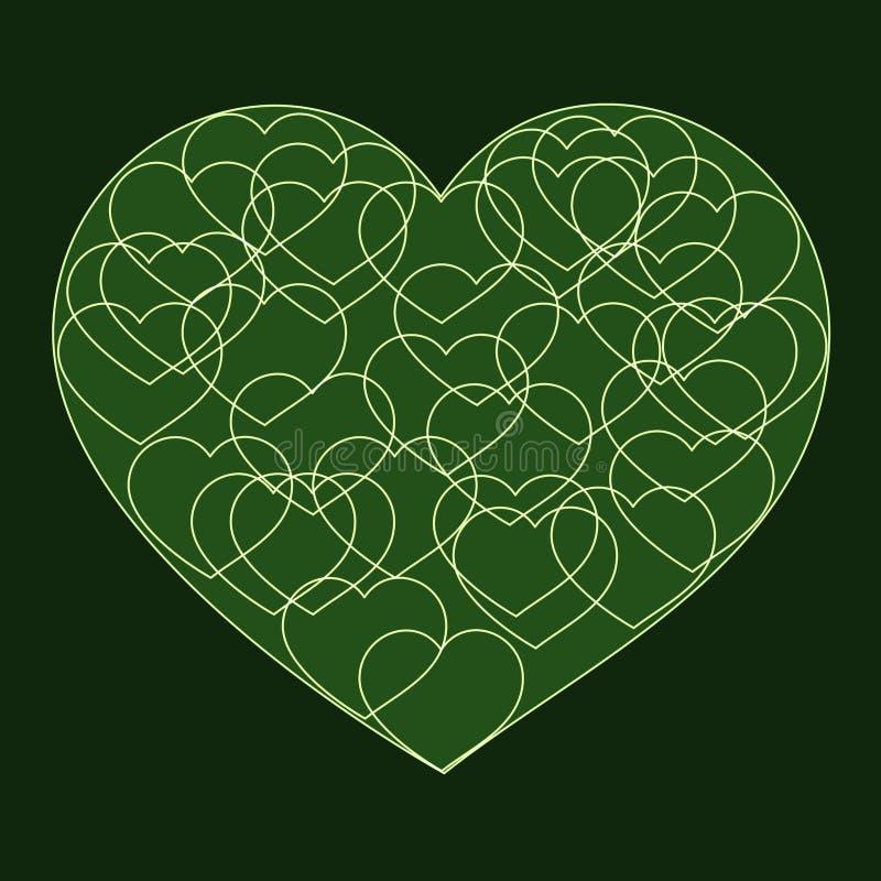 Romantiskt valentinkort med stor grön hjärta royaltyfri illustrationer