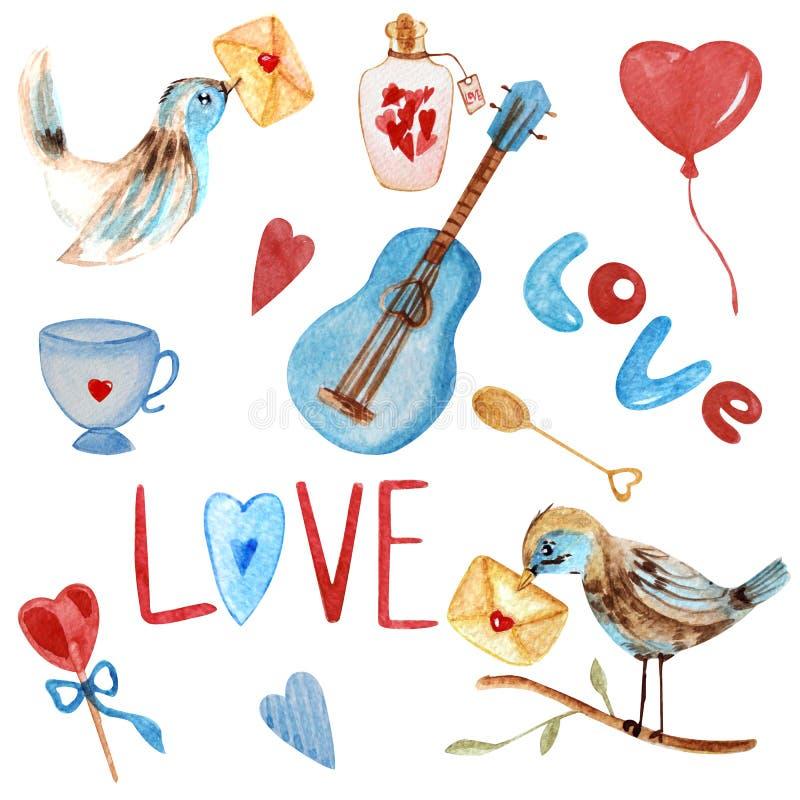 Romantyczna akwarela w czerwonych i błękita brzmieniach ilustracji