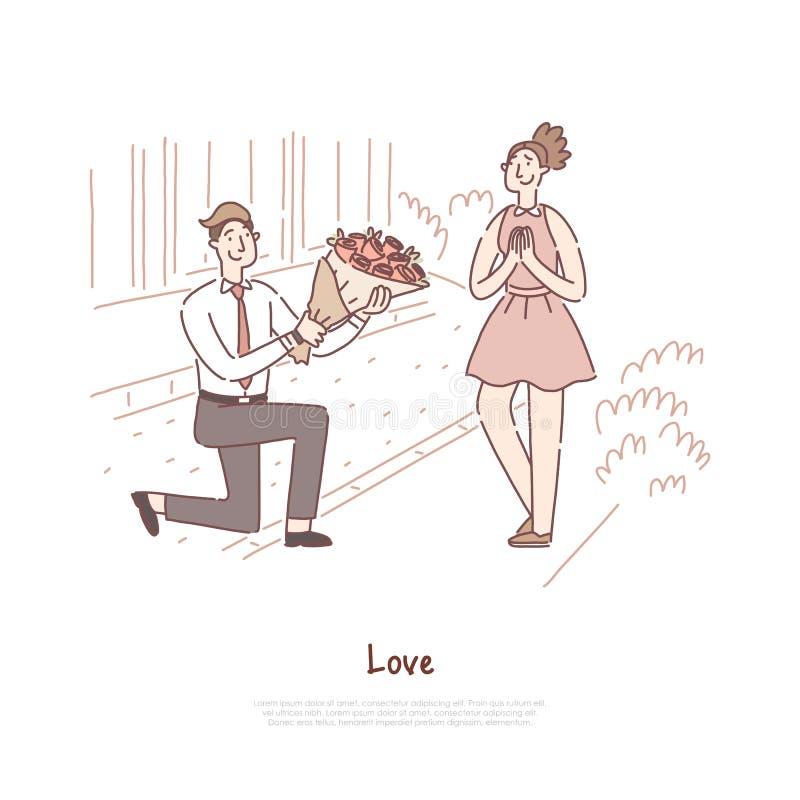 Romantyczna data, para w miłości datuje, chłopak daje dziewczyn różom bukietowi, dżentelmen z kwiat wiązki sztandarem ilustracji