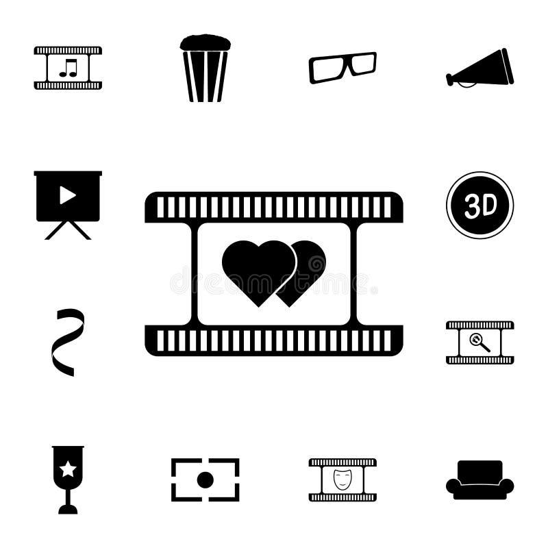 romantyczna film ikona Szczegółowy set kinowe ikony Premii ilości graficznego projekta ikona Jeden inkasowe ikony dla stron inter ilustracja wektor