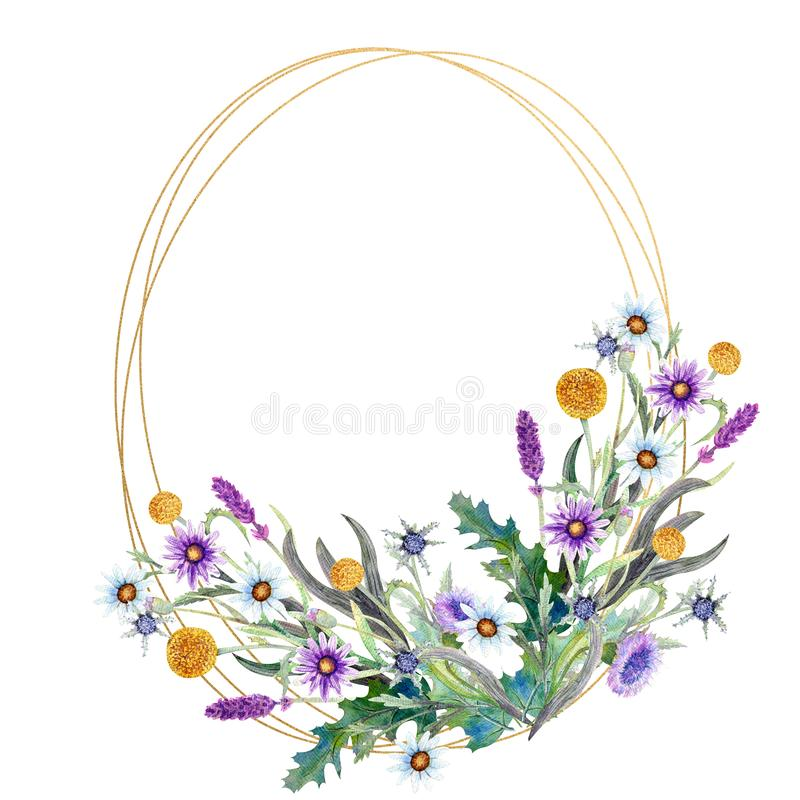 Romantyczna geometryczna rama Wildflowers w akwareli ?lubny poj?cie z kwiatami Kwiecisty plakat, zaproszenie akwarela ilustracji